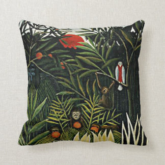 Landscape with Monkeys - Henri Rousseau artwork Throw Pillow