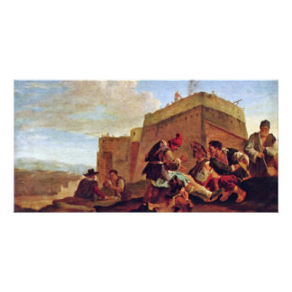 Landscape With Mora Players By Laer Pieter Van Photo Card