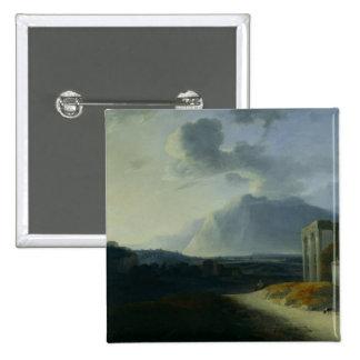 Landscape with Mount Stromboli Pinback Button