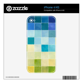 Landscape with Multicolored Pixilated Squares iPhone 4 Skins