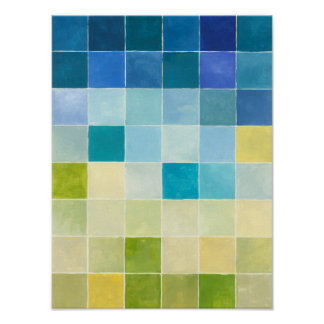 Landscape with Multicolored Pixilated Squares Poster