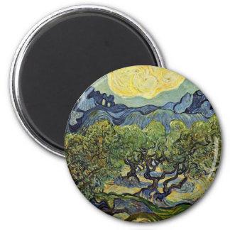 Landscape With Olive Trees By Vincent Van Gogh Fridge Magnet