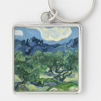 Landscape with Olive Trees, Vincent Van Gogh Keychain