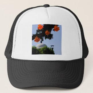 Landscape with orange orchids trucker hat