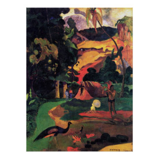 Landscape With Peacocks by Gauguin Poster