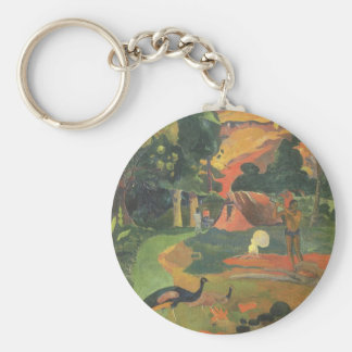 Landscape with Peacocks by Paul Gauguin Keychain
