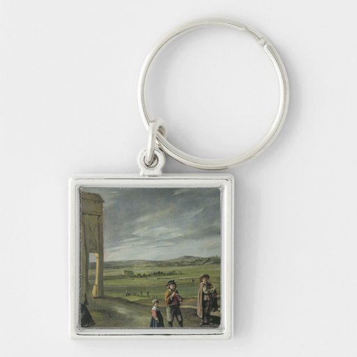 Landscape with Peasants, c.1640 Silver-Colored Square Keychain