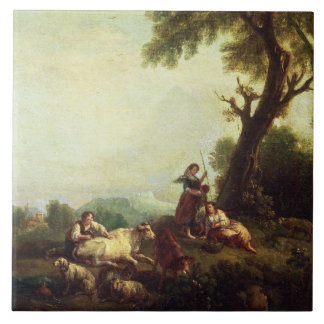 Landscape with Peasants Watching a Herd of Cattle Ceramic Tile
