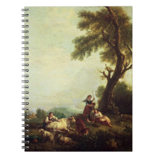 Landscape with Peasants Watching a Herd of Cattle Spiral Notebook