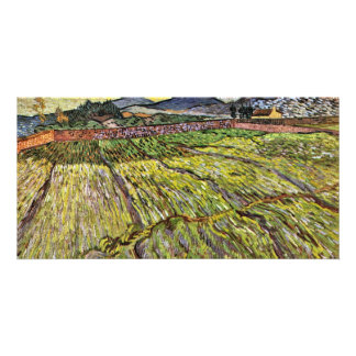 Landscape With Plowed Fields By Vincent Van Gogh Photo Card Template
