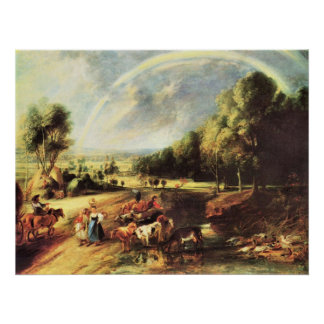 Landscape with Rainbow by Paul Rubens Poster
