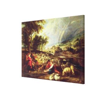 Landscape with Rainbow (oil on canvas) Canvas Print