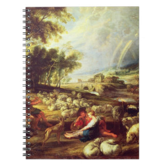 Landscape with Rainbow (oil on canvas) Spiral Notebook