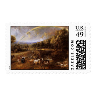 Landscape with Rainbow Stamp