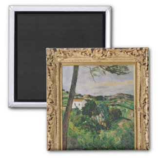 Landscape with red roof or The pine at the 2 Inch Square Magnet