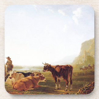 Landscape with resting cows by Jacob van Strij Coaster