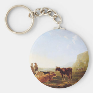 Landscape with resting cows by Jacob van Strij Keychain