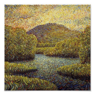 landscape with river and trees posters