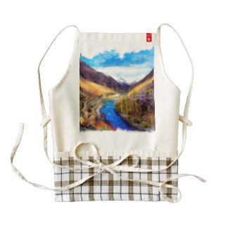 Landscape with river flowing through zazzle HEART apron