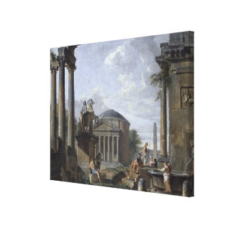 Landscape with Roman Ruins Gallery Wrap Canvas