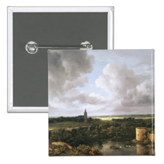 Landscape with Ruined Castle and Church Pinback Button