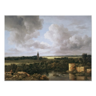 Landscape with Ruined Castle and Church Poster