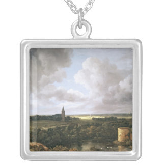 Landscape with Ruined Castle and Church Silver Plated Necklace