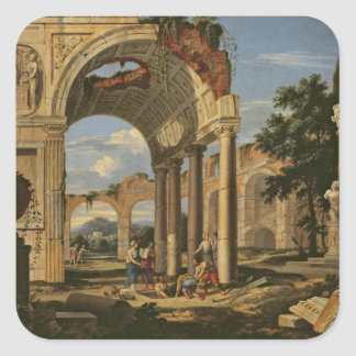 Landscape with Ruins, 1673 Square Sticker