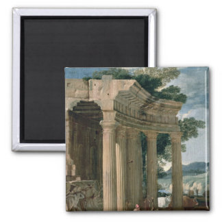 Landscape with ruins and a shepherd magnet