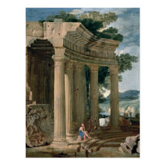 Landscape with ruins and a shepherd postcard