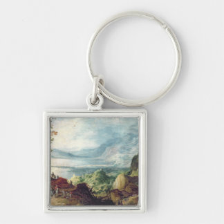 Landscape with Sea and Mountains (oil on canvas) Keychain