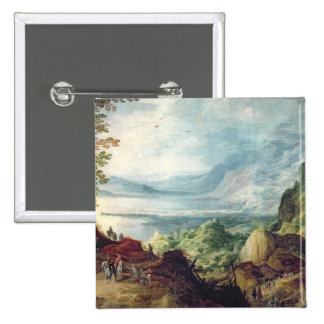Landscape with Sea and Mountains (oil on canvas) Pinback Button