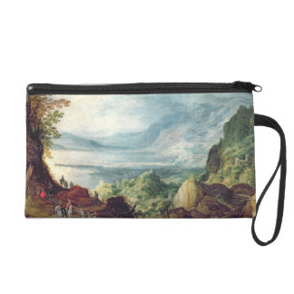 Landscape with Sea and Mountains (oil on canvas) Wristlet Purse