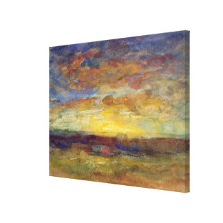 Landscape with Setting Sun Canvas Print