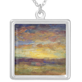 Landscape with Setting Sun Silver Plated Necklace