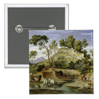 Landscape with Shepherds and Cows 2 Inch Square Button