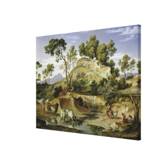 Landscape with Shepherds and Cows Canvas Print