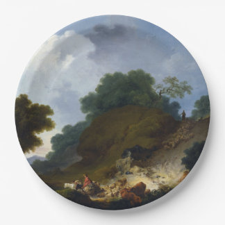Landscape with Shepherds by Fragonard 9 Inch Paper Plate