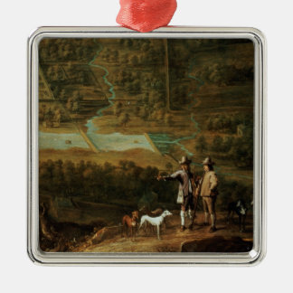 Landscape with sportsmen metal ornament