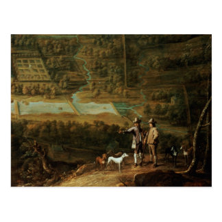 Landscape with sportsmen postcard