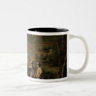 Landscape with sportsmen Two-Tone coffee mug