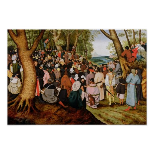 Landscape with St. John the Baptist Preaching Poster