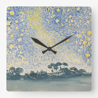 Landscape with Stars Square Wall Clock