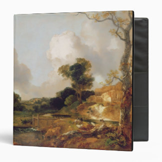Landscape with Stream and Weir (oil on canvas) 3 Ring Binder