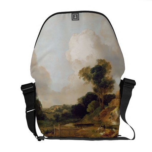 Landscape with Stream and Weir (oil on canvas) Courier Bags