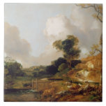 Landscape with Stream and Weir (oil on canvas) Ceramic Tile