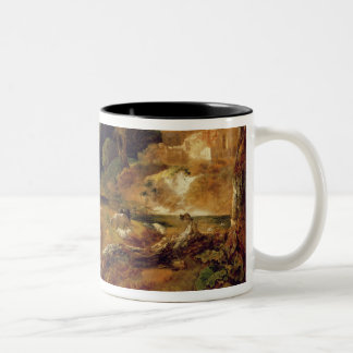 Landscape with Stream and Weir (oil on canvas) Two-Tone Coffee Mug