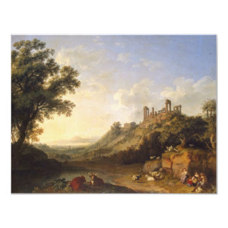 """Landscape With Temple Ruins On Sicily (Valley Of T 4.25"""" X 5.5"""" Invitation Card"""