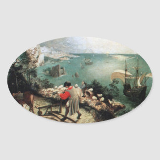 Landscape with the Fall of Icarus - 1558 Oval Sticker
