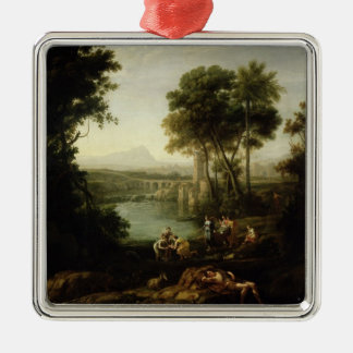 Landscape with the Finding of Moses Square Metal Christmas Ornament